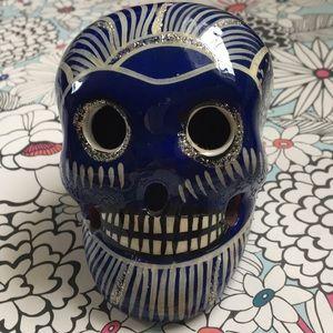 Mexican Sugar Skull Head dark blue, silver, cream